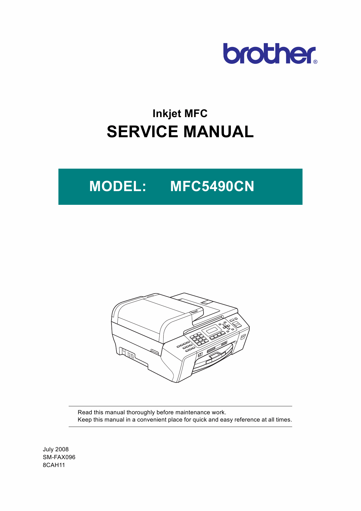 Brother Inkjet-MFC 5490CN Service Manual and Parts-1